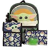 Star Wars Mandalorian Baby Yoda Backpack Set for Kids, 16 inch, 5 Piece Value Set
