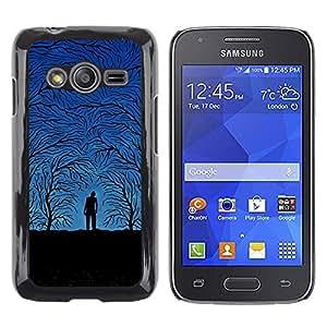 TopCaseStore / la caja del caucho duro de la cubierta de protección de la piel - Forest Grey Autumn Blue Night Trees Man - Samsung Galaxy Ace 4 G313 SM-G313F