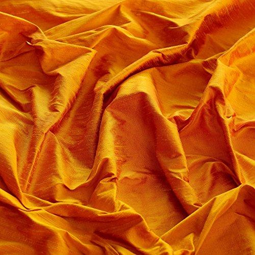 "Iridescent Golden Poppy Dupioni Silk, 100% Silk Fabric, By The Yard, 44"" Wide"