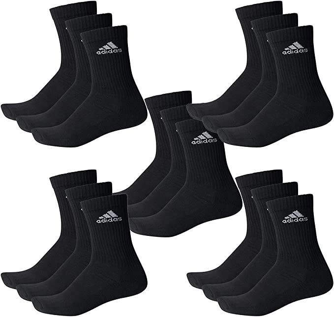 adidas 15 Paar Performance CUSHIONED CREW 3p Tennissocken Sportspocken Unisex, Farbe:Black, Socken & Strümpfe:43 45