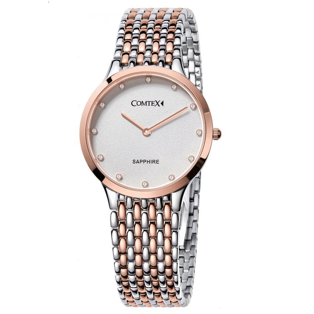 10ea6e53fc66 Amazon | Comtex 腕時計 レディース ステンレス バンド アナログ表示 クオーツ ウオッチ 女性 時計 ピンクゴールド | レディース 腕時計 | 腕時計 通販