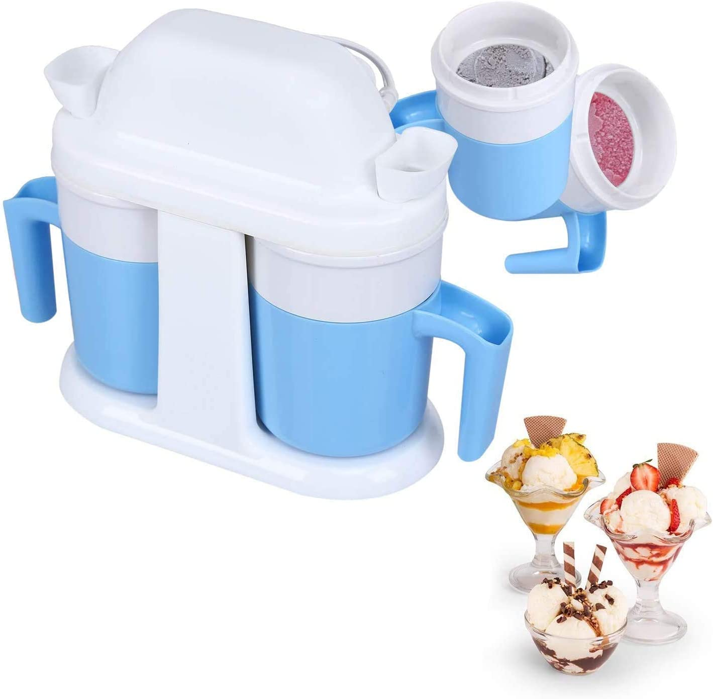 HoLead Ice Cream Machine,Automatic Frozen Yogurt Maker for Home, Doube Cup, blue