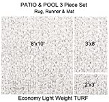 3 Piece Set - ECONOMY TURF / ARTIFICIAL GRASS Patio & Pool - Light Weight Outdoor | EASY Maintenance - Just Hose Off & Dry! ( Rug 8'x10', Runner 3'x8' & Mat 2'x3' ) 8 Colors to Choose From (White)