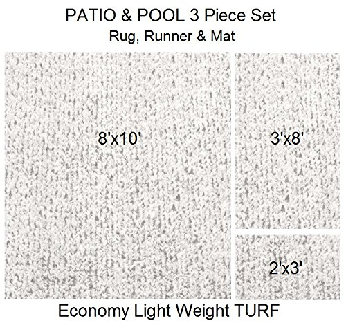 3 Piece Set - ECONOMY TURF / ARTIFICIAL GRASS Patio & Pool - Light Weight Outdoor | EASY Maintenance - Just Hose Off & Dry! ( Rug 8'x10', Runner 3'x8' & Mat 2'x3' ) 8 Colors to Choose From (White) by Koeckritz Rugs
