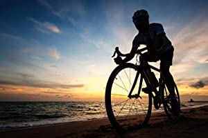Cyclist Silhouette Biking On The Beach Sunrise Photo Cool Wall Decor Art Print Poster 36x24