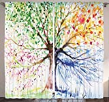 Ambesonne Nature Decor Curtains by, Abstract Art Navy Blue Watercolor Colorful Tree Four Seasons Spring, Window Drapes 2 Panel Set for Living Room Bedroom, 108 X 90 Inch, Pink Yellow Orange and Olive For Sale