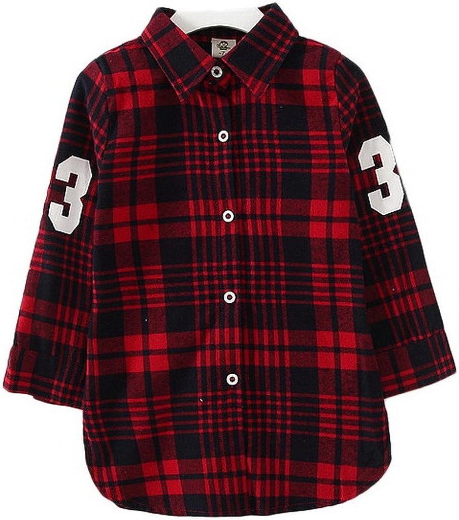 Bigood - Camisa deportiva - Cuadrados - cuello mao - Manga ...