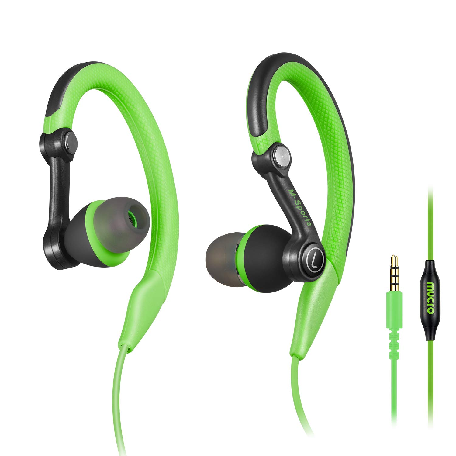 mucro Running Headphones Over Ear in Ear Sport Earbuds Earhook Wired Stereo Workout Ear Buds for Jogging Gym for Samsung Android Phones Tablets Etc(Green)