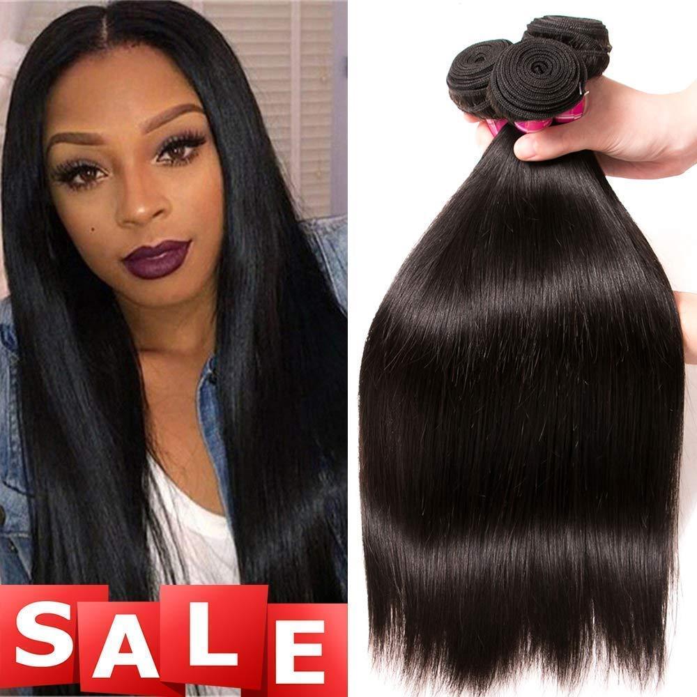 QinMei Brazilian Hair Straight Bundles 8A Grade 10 12 14 inches 100% Unprocessed Virgin Straight Human Hair 3 Bundles Weave Extensions Natural Color by QinMei