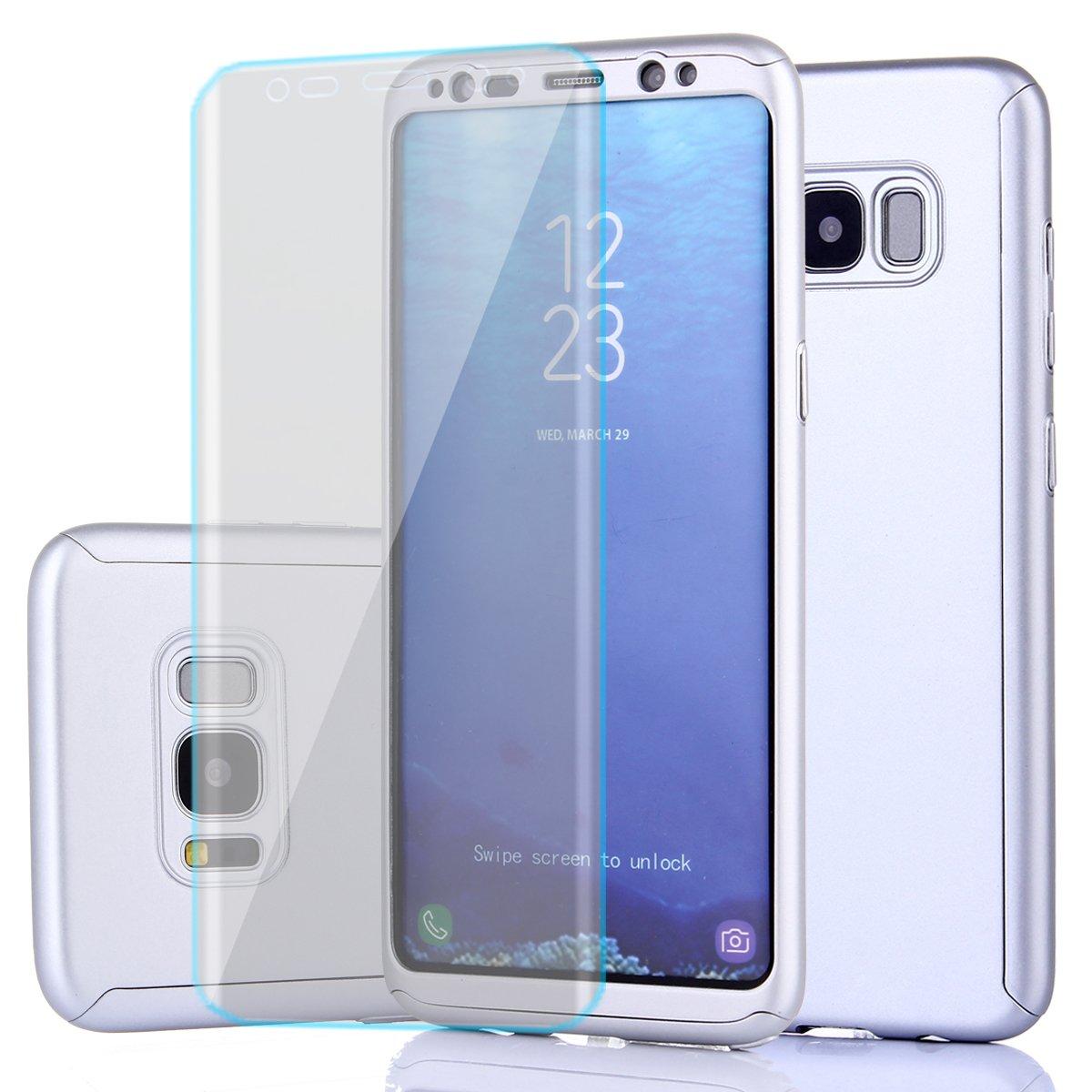 Samsung Galaxy s8ケース、フルボディ保護超薄型ハードPCケースwith aソフトHDスクリーンプロテクター360すべてラウンドAnti Scratchリムーバブルハイブリッドカバーfor Galaxy s8 6-12 months B073JSQCP1 シルバー シルバー
