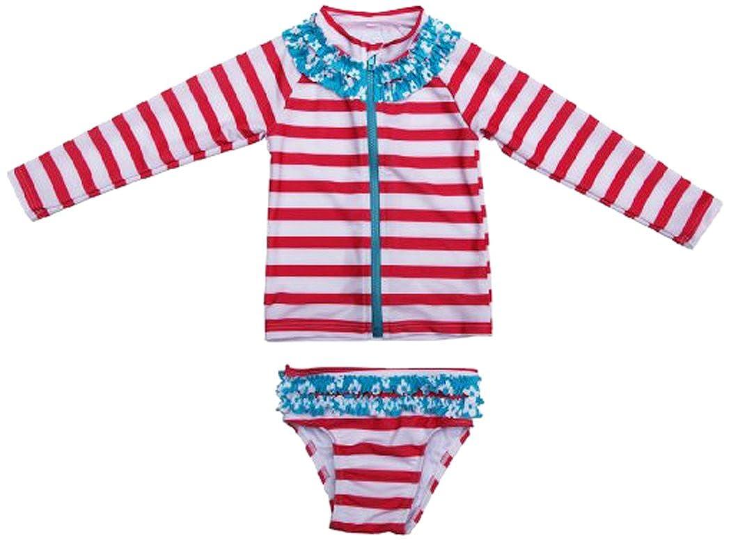 SwimZip Little Girl Long Sleeve Rash Guard Zip Swimsuit Set UPF 50+ Splish Splash Coral Red 45007/6YRS