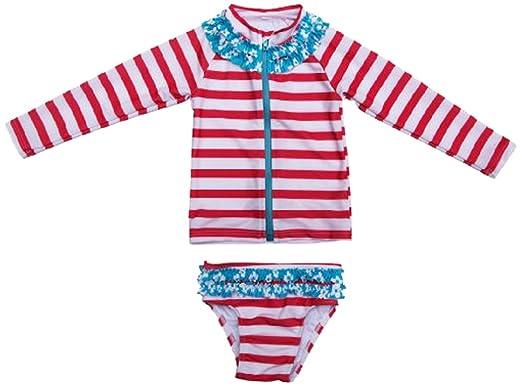351ddbf9119cc SwimZip Little Girl Long Sleeve Rash Guard Zip Swimsuit Set UPF 50+ Splish  Splash Coral