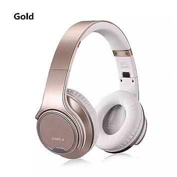 Sodo DJ Auriculares Bluetooth Wireless Headset Stereo Altavoz con NFC funciones a través de oído DJ Auriculares con micrófono auricular dorado dorado: ...