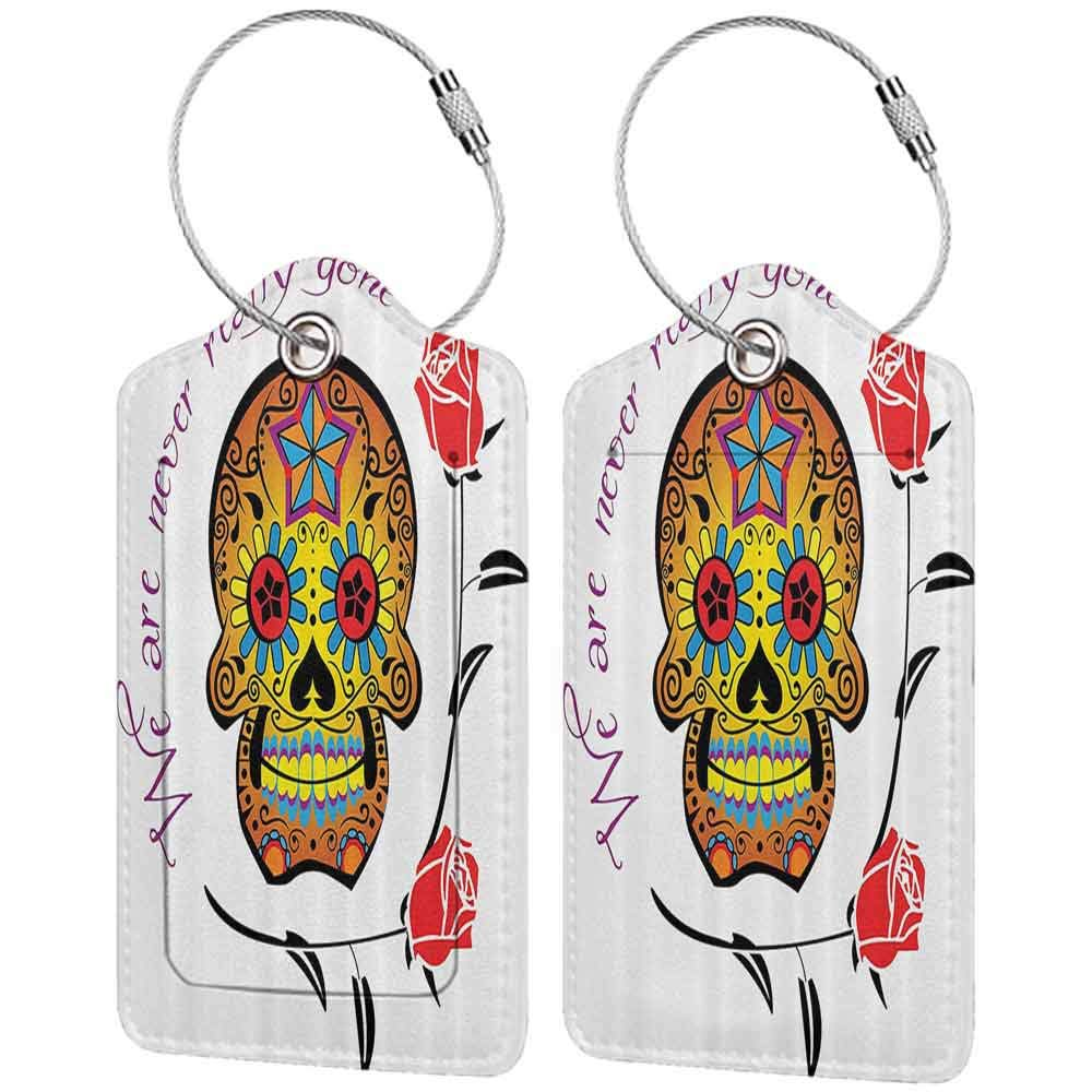 Waterproof luggage tag Day Of The Dead Decor Spanish Dead Festive Skull with We are Never Gone Quote Art Print Soft to the touch Multicolor W2.7 x L4.6