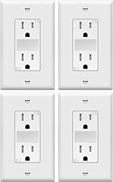 TOPGREENER LED Guide Light Decorator Outlet Combination with Automatic Night/Day Sensor, 125VAC/15A Tamper-Resistant Receptacle, TG215TRGL, White (4 Pack)