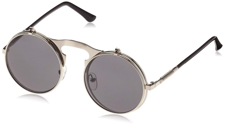 61773e3ca Dollger Lennon Flip up clip on Round Sunglasses(Black Lens+Silver Frame):  Amazon.co.uk: Clothing