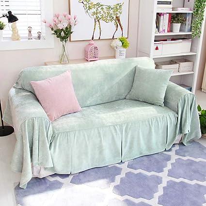 Solid Color Plush Sofa Cover, 1 Piece Anti Slip Sofa Slipcover Furniture  Protector
