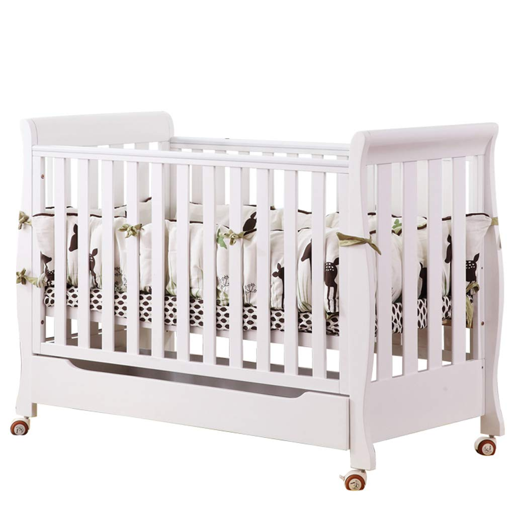 Crib Baby Cot Splicing Bed Solid Wood European Style Multifunction Cradle Bed (Color : White, Size : 13465.297.2cm)