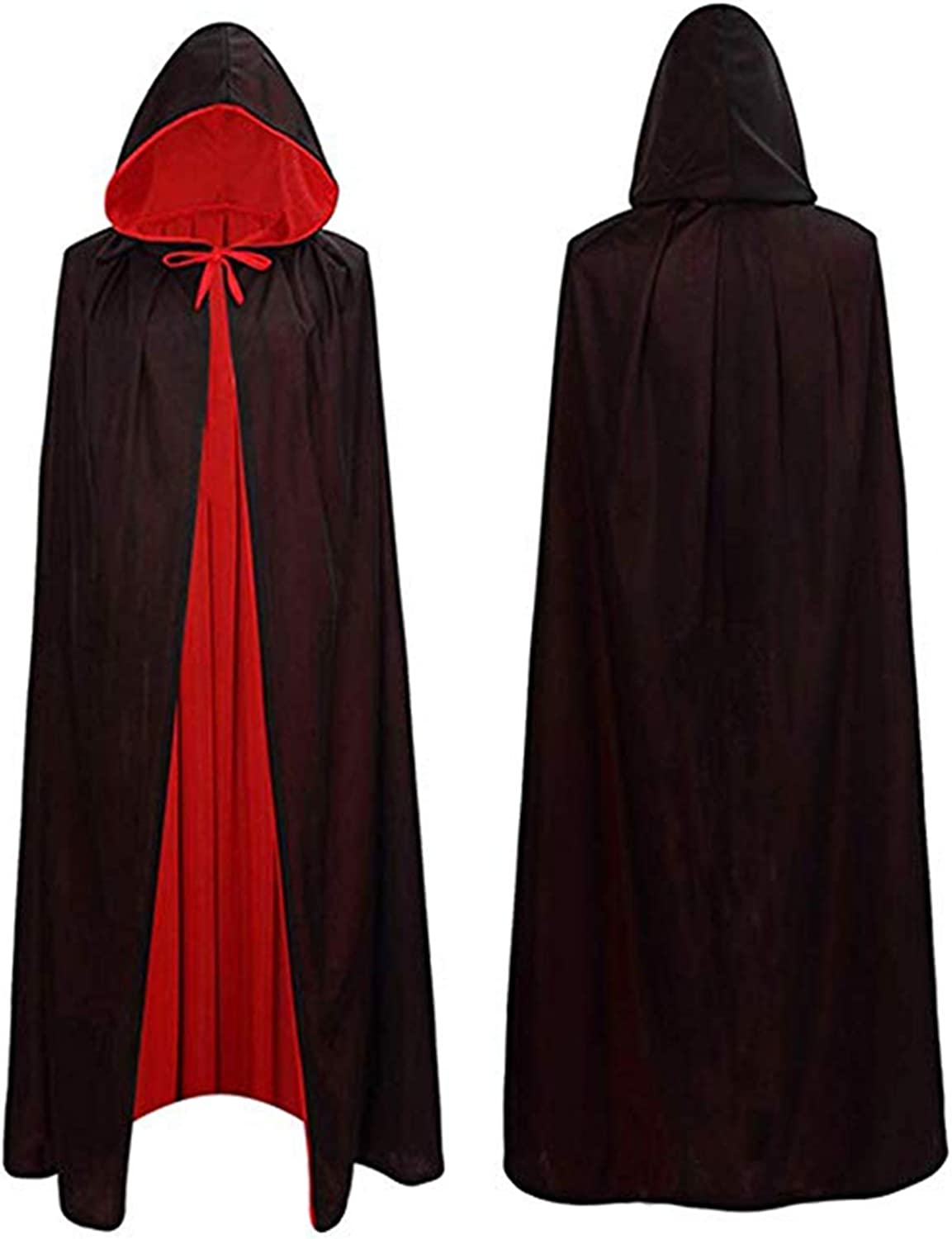 Lulu Home Halloween Cloak, Reversible Hooded Vampire Cape Halloween Costume for Man and Woman Black-red