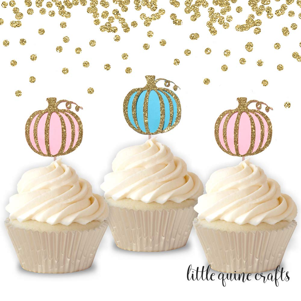 12 pcs pumpkins pink blue cupcake topper gold glitter halloween theme birthday baby shower gender reveal fall autumn party