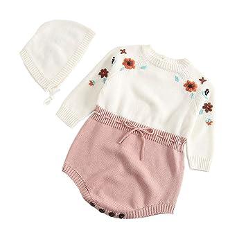 dbf848f7c90bd ZooArts ベビー服 ロンパース ニット かわいい 帽子付き 2点セット 新生児サイズ 女の子 子供服 手作り