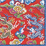 Chinese Dragon Decorations Cocktail Napkins Gold & Red Paper Napkins Holiday Party Pk 40