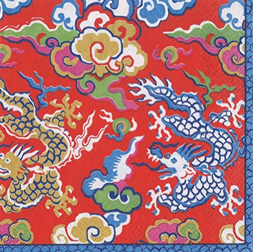 Chinese Paper Plates (Chinese Dragon Decorations Cocktail Napkins Gold & Red Paper Napkins Holiday Party Pk)