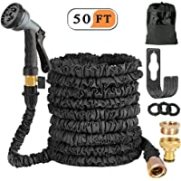 Liwiner Expandable Garden Hose Pipe, 50ft Flexible Expanding Water Hose With Fashion Brass Connector /8 Pattern Spray Gun With Hanger/Storage Bag〖1 Year 100% Guaranteed〗 (Black)