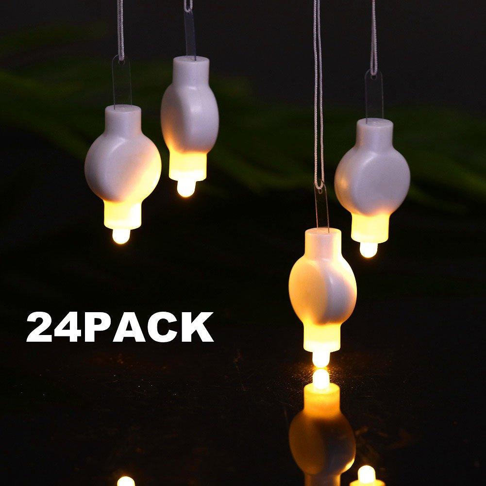 LOGUIDE Mini Party Lights Paper Lanterns - LED Lanterns Balloons White Lights Battery Operated,Floral Party,Eid Lights,Wedding,Outdoors Decoration 24 Pack (Warm White)