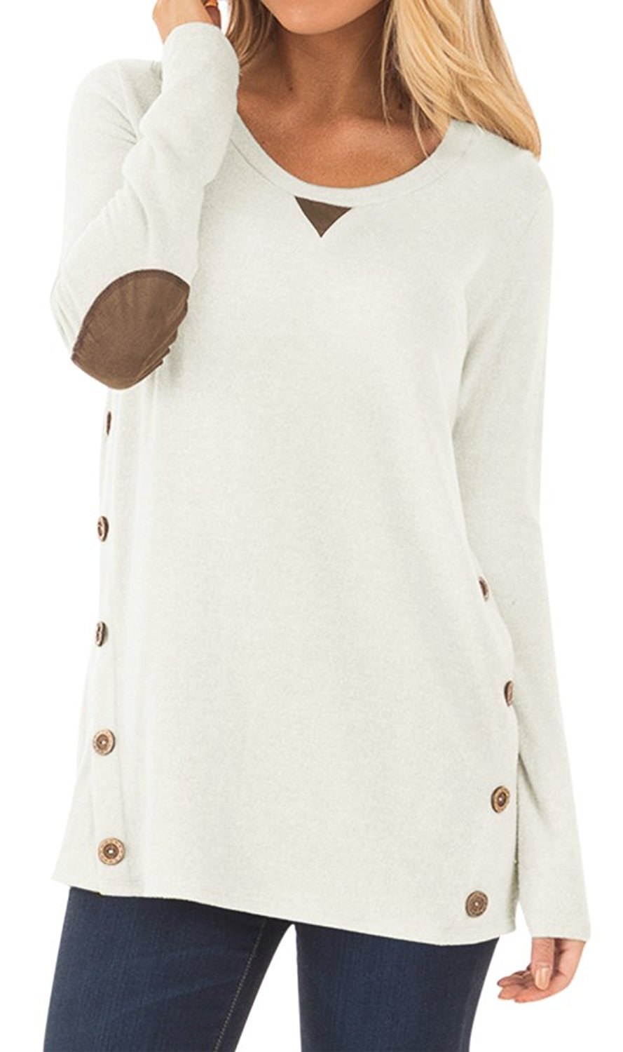 DEARCASE Women's Round Neck Tunic Soft Tops with Faux Suede and Button Blouses Tops White Small