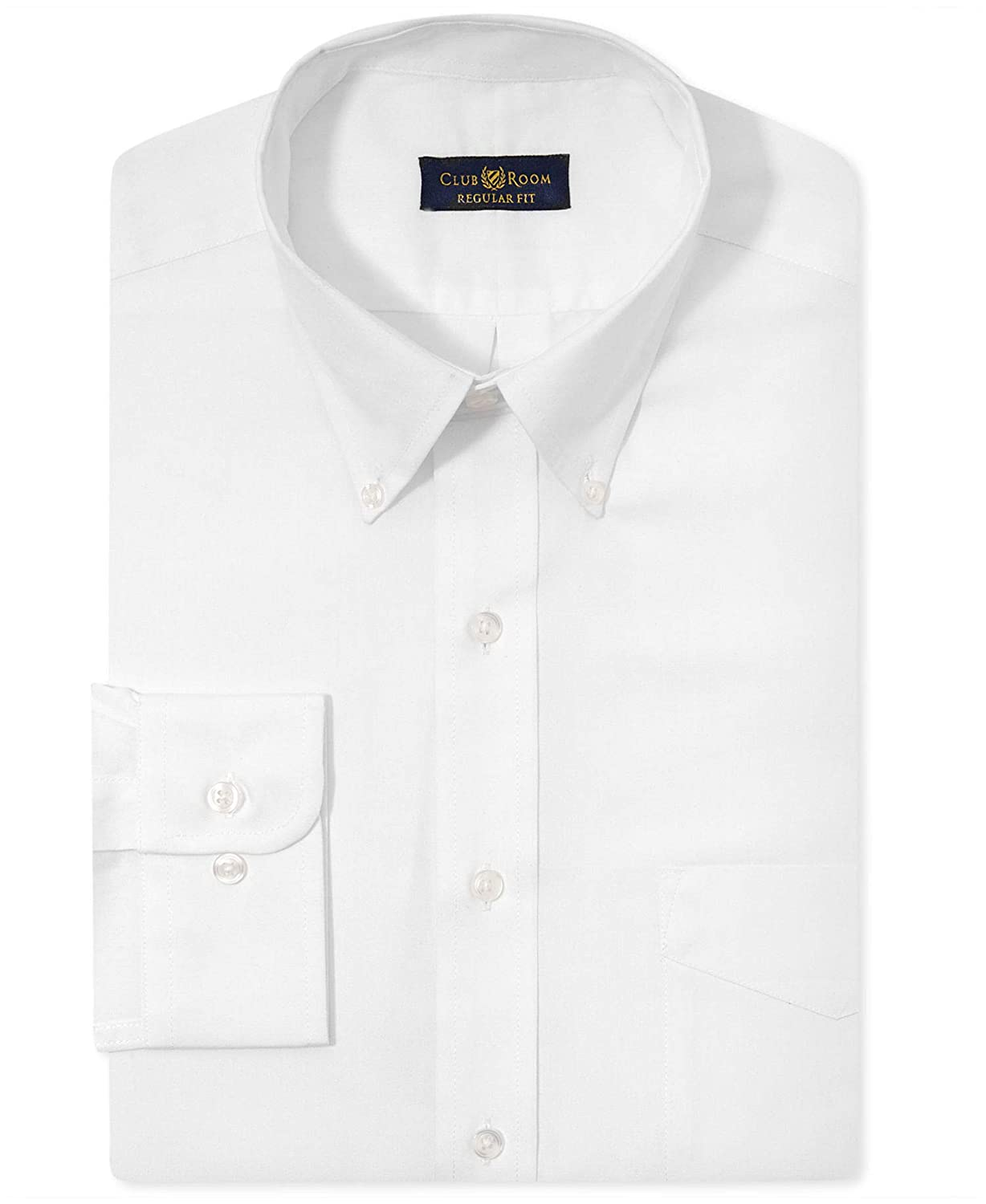 Club Room Mens Classic-Fit Wrinkle Resistant White Dress Shirt