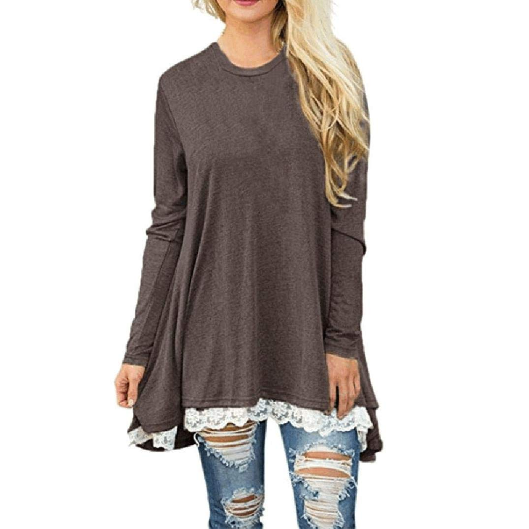 Trendinao Womens Ladies Casual Lace Long Sleeve Shirt Pullover Tops Blouse CO/XL (Coffee,X-Large)