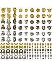 174 قطعة خرز فاصل واسع، خرز فاصل فضفاض من التبت سحر رئيس لاكي الفيل الحياة شجرة الخرز فاصل لصنع المجوهرات