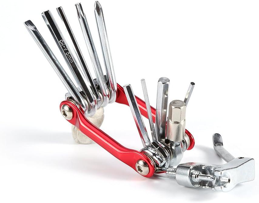 Fahrrad Multifunktions-Reparatur-Kit Elektroplattierte Carbon Steel Mountain Bike Reparaturwerkzeug Repair Tools mit Alulegierung Griff