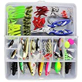 Docooler 101Pcs Fishing Lures Mixed Hard Baits Soft Baits Popper Crankbait VIB Topwater Floating Fishing Lures Hooks Kit