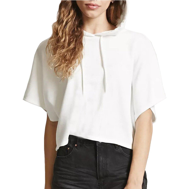 MAKARTHY Womens Short Sleeve Hoodie Lightweight Crop Top Pullover Sweatshirt White-L by MAKARTHY (Image #1)