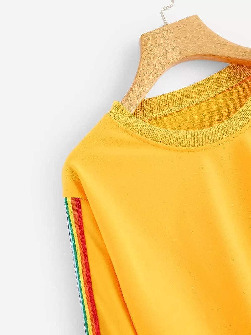 Homebaby Felpa Felpe Corte Tumblr Ragazza Donna Rainbow,Ragazza Sweatshirt Elegante Pullover Autunno Manica Lunga Crop Top Maglietta Cotone Camicette T-Shirt Yoga Fitness Calcio Sportiva
