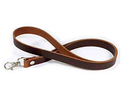 de809d4164fc Amazon.com  Brown Full Grain Leather Lanyard for ID Holder - Made in ...