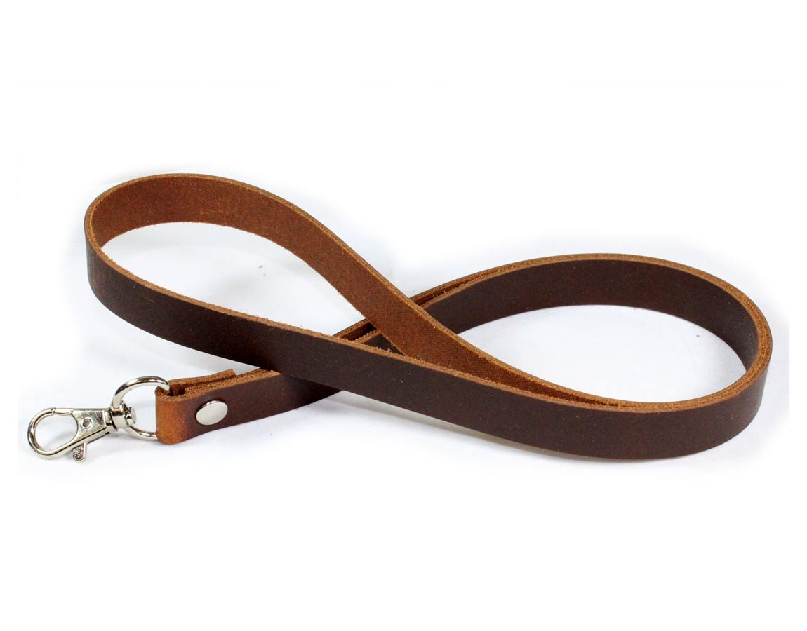 Brown Full Grain Leather Lanyard for ID Holder - Made in The USA