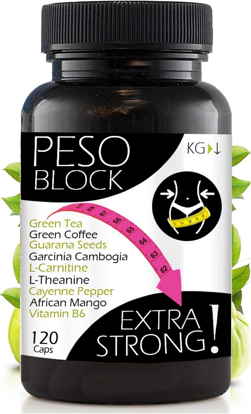 ADELGAZANTE POTENTE Peso Block | Quemagasas para Perder Peso Rápidamente Reducir el Apetito Aumentar Metabolismo y Energía | 120 Pastillas Efectivo para Adelgazar Barriga Grasa Abdominal Muslos