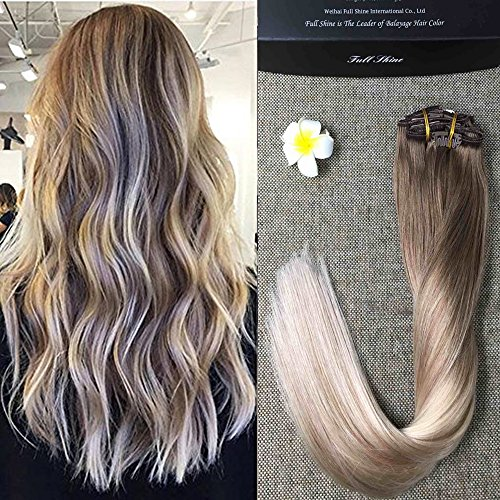 Full Shine 16 inch Clip in Ombre Human Hair Extensions Full