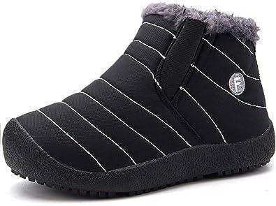 1083c014c0f61 Enfant Chaussures Bottes d hiver Fille Garçon Bottines Mode de Neige avec  Doublure Chaud Fourrure