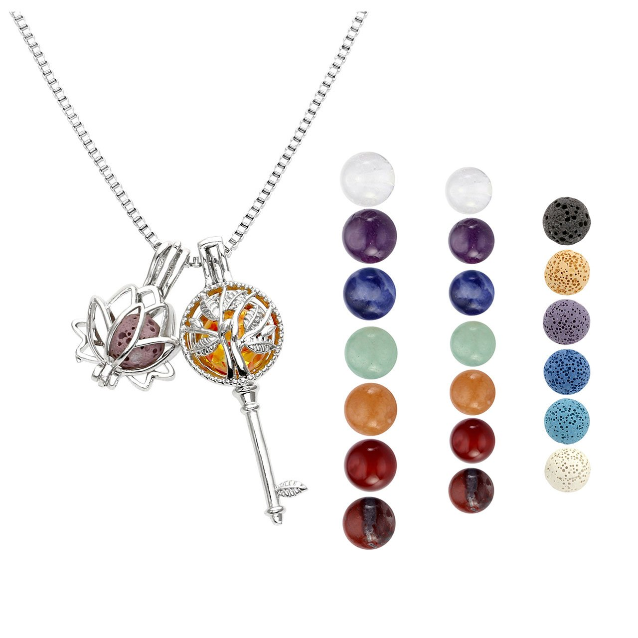 JOVIVI Aromatherapy Essential Oil Diffuser Necklace Double Locket Pendant with 6 Colored Lava Stone Beads + 7 Chakra Gemstones Ball+ 2pcs Box Chain 20''