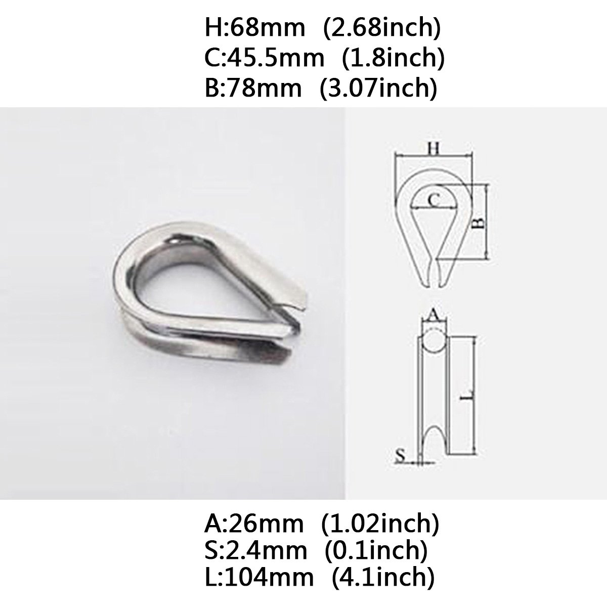 Wire Rope Thimbles,Saim M2 Stainless Steel Wire Rope Thimbles Lifting Gear 30 Pcs