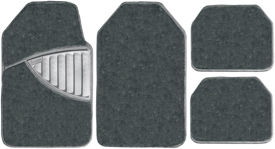 Quality Carpet Mat Set for Tailored Car Mats for Citroen C1 Grey Carpet With Blue Leather Look Trim 2005-2013