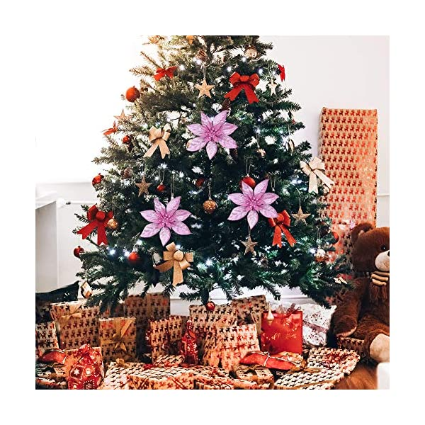 36 pezzi Decorazione per albero di Natale Fiori, Glitter rosa Poinsettia artificiale Fiori di Natale Ornamenti per alberi di Natale per Natale Festa di nozze Ghirlanda Decorazioni fai da te 6 spesavip