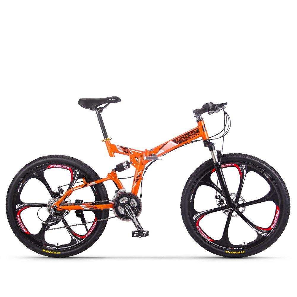 折りたたみ自転車 マウンテンバイク 26インチ タイヤ シマノ27段変速 カギ Wサスペンション 前後泥除け Rich Bit TP008 街乗りMTB おしゃれ 通学 通勤 B0798N6B47 オレンジ オレンジ