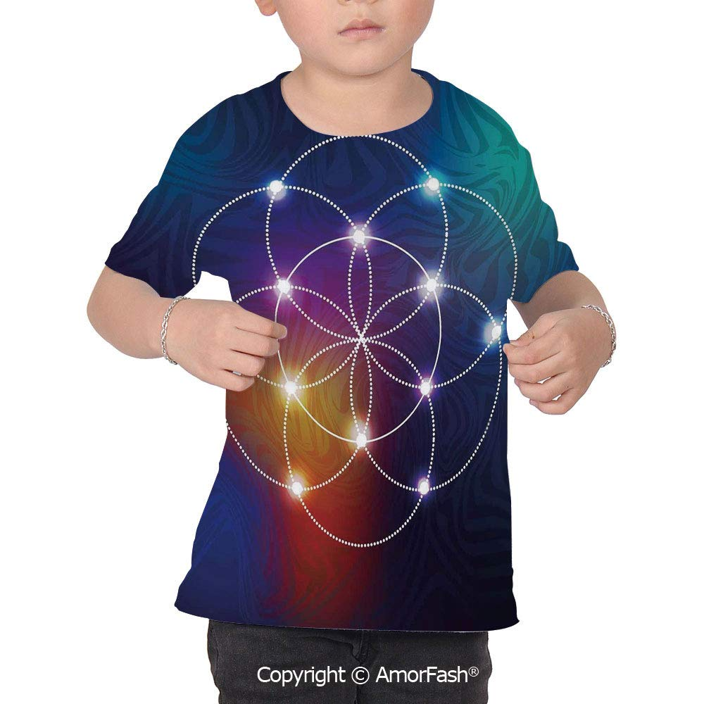 PUTIEN Circle All Over Print T-Shirt,95/% Polyester,Childrens Short Sleeve T-ShirtDigit