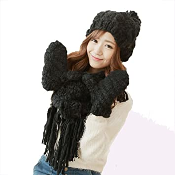 SALY Ladies Winter Lovely Thick Warm Scarves Hat Gloves 3 pcs, Black