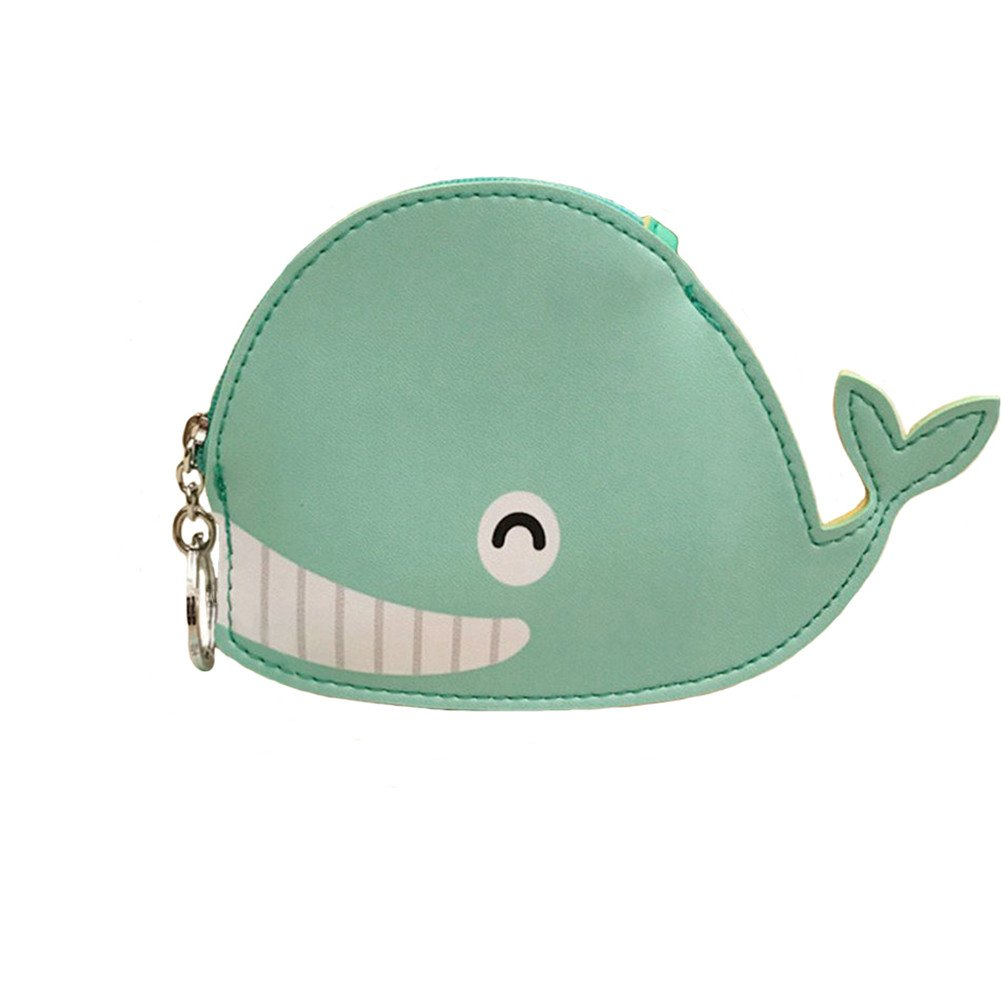 Gluckliy Cartoon Animal Whale Coin Purse Wallet Boys Girls Small Mini Change PU Leather Zipper Wallet Key Bag with Keyring for Women Kids Gift